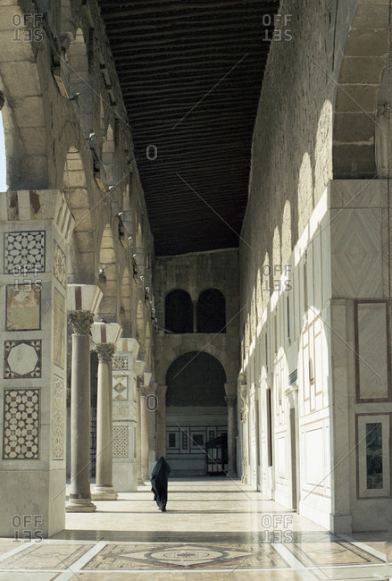 Back view of a woman at Umayyad Mosque in Damascus, Syria