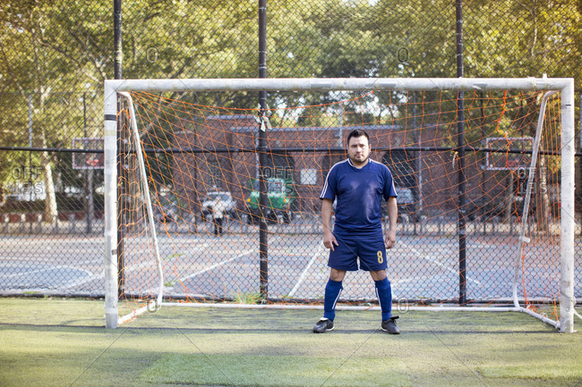 Goalkeeper at goalpost