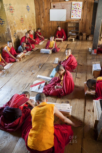 Young monks studying at Chimi Lhakhang Monastery, Punakha, Bhutan, October 3, 2011