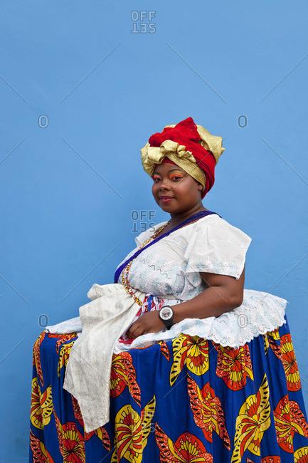 Portrait of a Bahian woman in traditional dress, Pelourinho, Salvador, Bahia, Brazil, December 13, 2011
