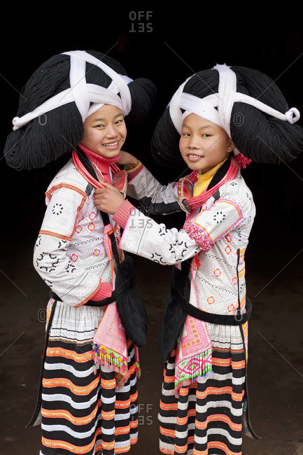 Long Horn Miao girls, Sugao, Guizhou Province, China, January 30, 2012
