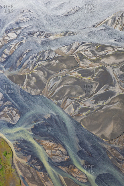 Aerial view of Hosa river colored by glacial melt, Iceland