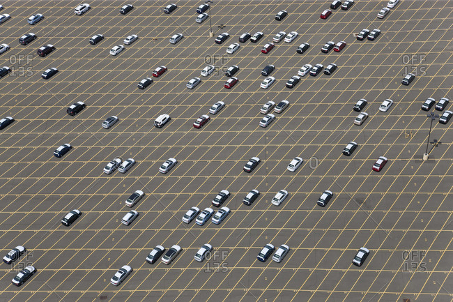 New cars waiting for delivery at port, New Jersey, New York, USA