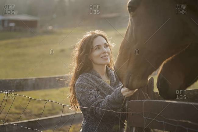 A woman stroking the muzzles of two horses in a paddock on a farm.