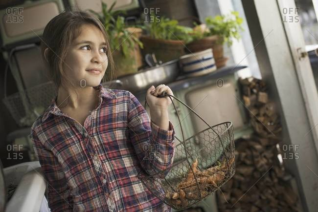 A young girl in a house kitchen, holding a metalwork basket of fresh carrots.