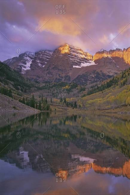 The Maroon Bells Mountains of White River National Forest, in Colorado.