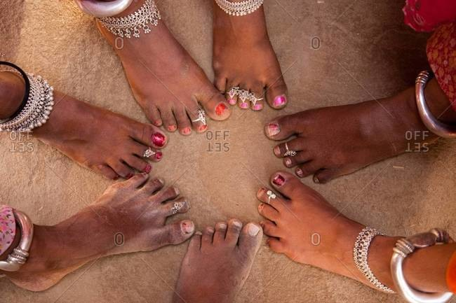 Feet of women in Rajasthan village in India