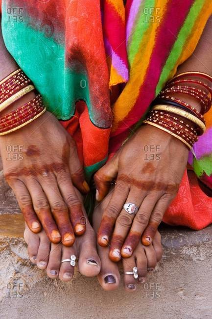 Henna hands in Rajasthan, India
