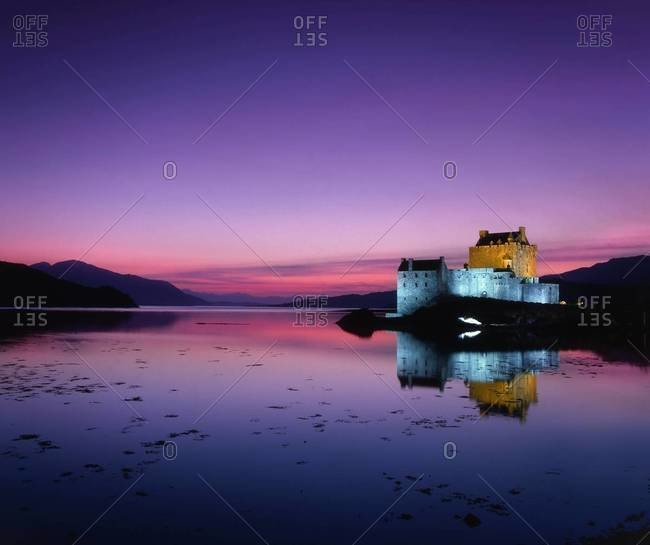 Reflection of Eilean Donan Caste at sunset