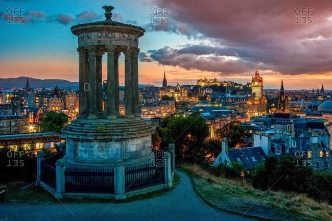 Edinburgh at dusk from Calton hill