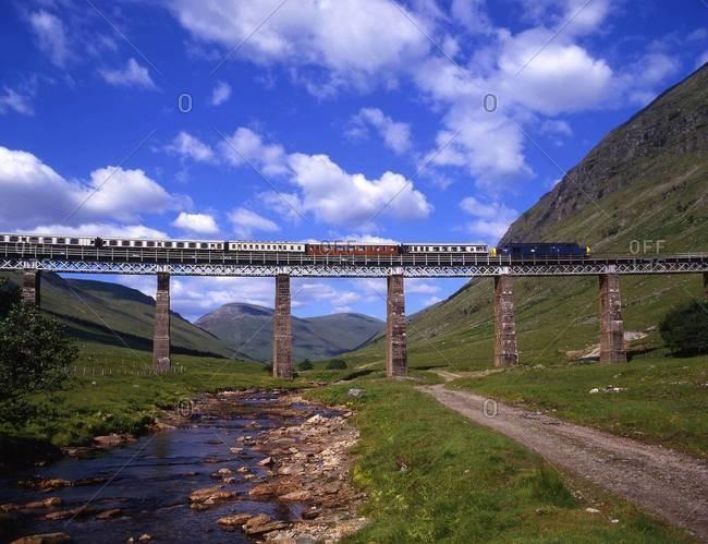 Train crossing Auch viaduct, Scotland