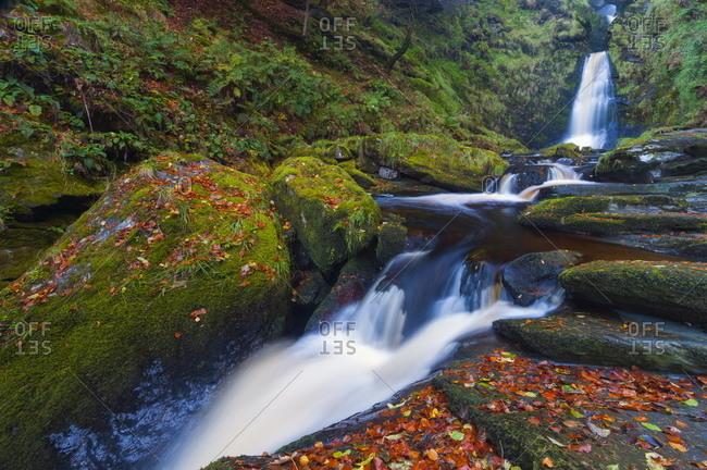 Llanrhaeadr ym Mochnant, Pistyll Rhaeadr Waterfalls, Berwyn Mountains
