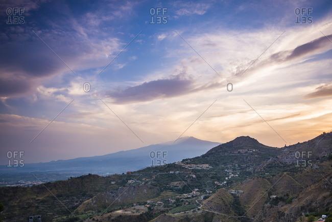 Mount Etna Volcano at sunset