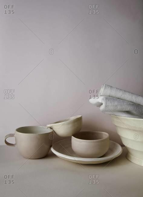 Still life of pink pottery