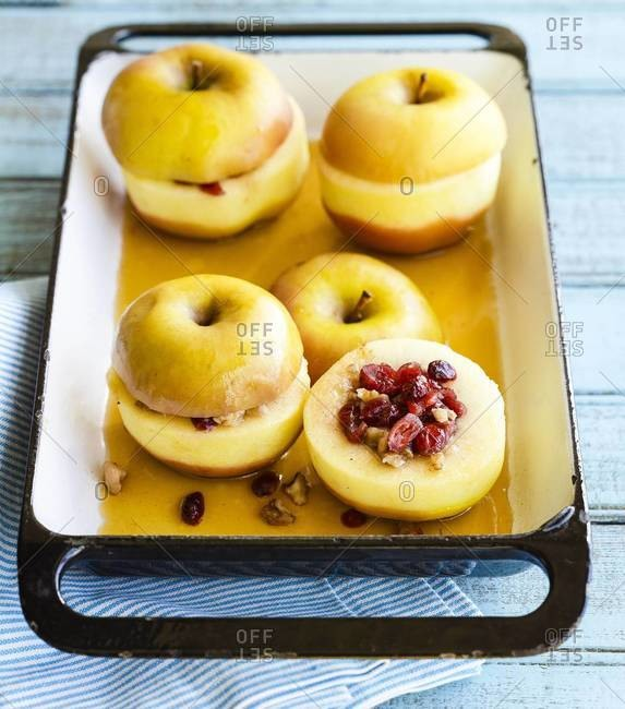 Cranberry and nut stuffed baked apples