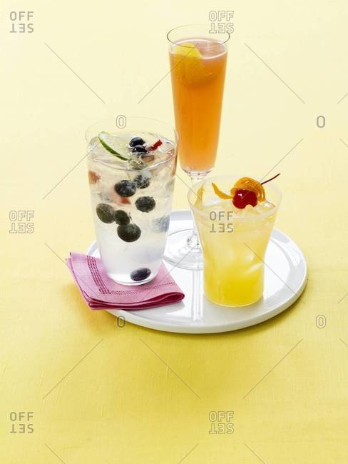 Still life of three brunch drinks
