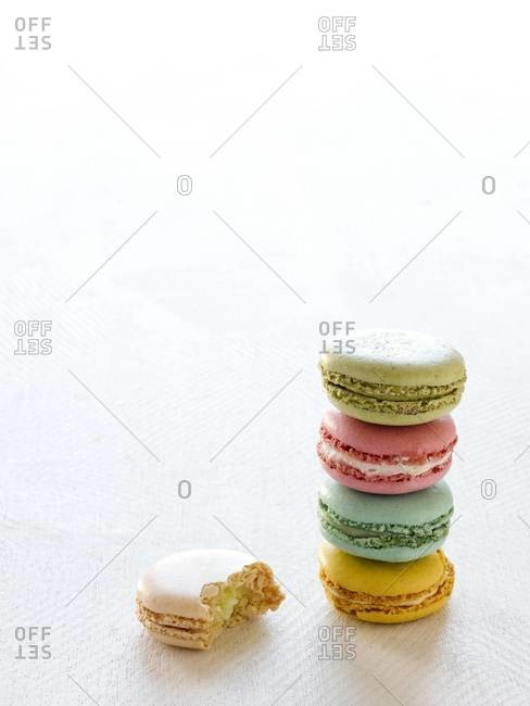 Colorful French macaroons stack
