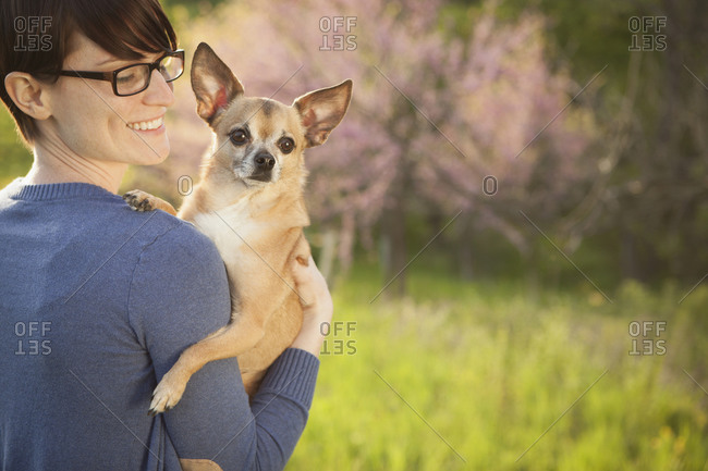Woman holding her Chihuahua on her shoulder