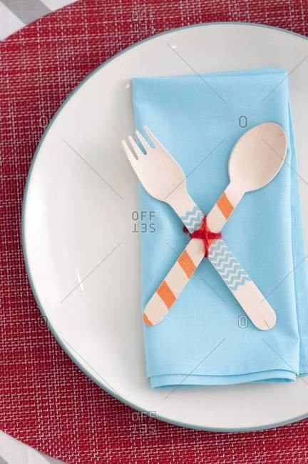 Plate and cutlery on table set for party