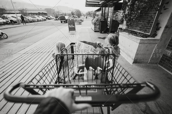Adult pushing shopping cart with two kids