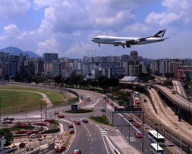 Airliner landing at Kai Tak airport, Hong Kong