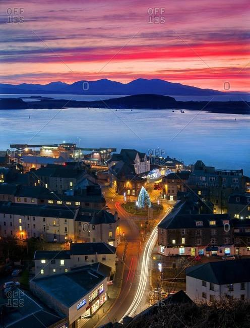 Sunset over Oban town center with Argyll square, Scotland