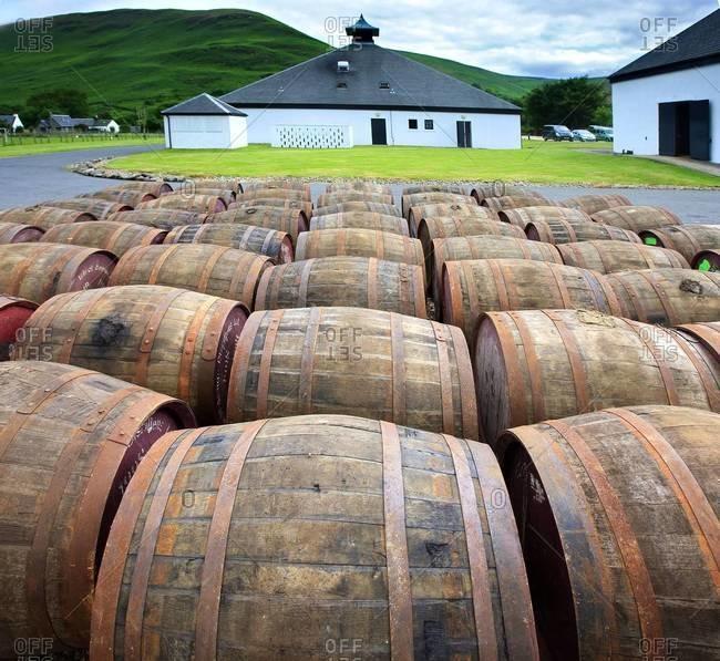 Barrels at a distillery in Arran, Scotland