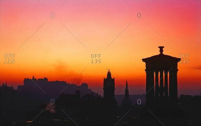 Edinburgh skyline at sunset from Calton Hill, Scotland