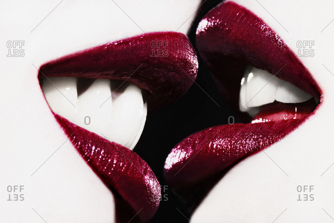 Close up of women\'s lips before kiss