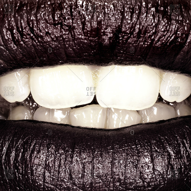 Close up of woman's lips and teeth