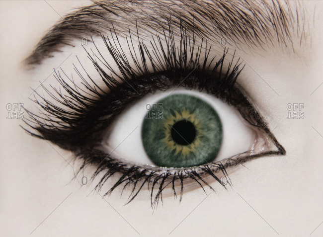 Close up of woman\'s eye wide open