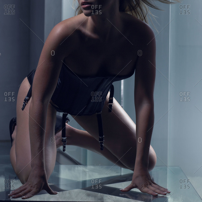 Woman in sexy lingerie posing in interior