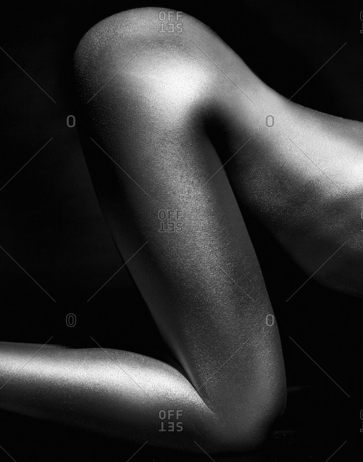 Naked woman's rear in black and white