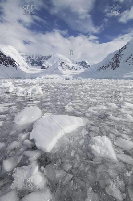 Ice at the base of a glacier in Wilhelmina Bay, Antarctica