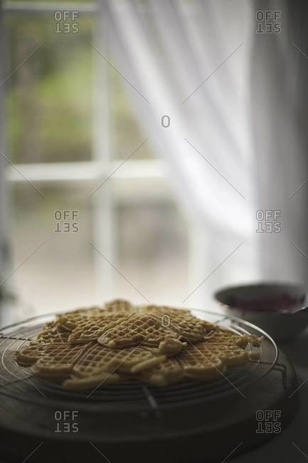 A dish of waffles on a tabletop