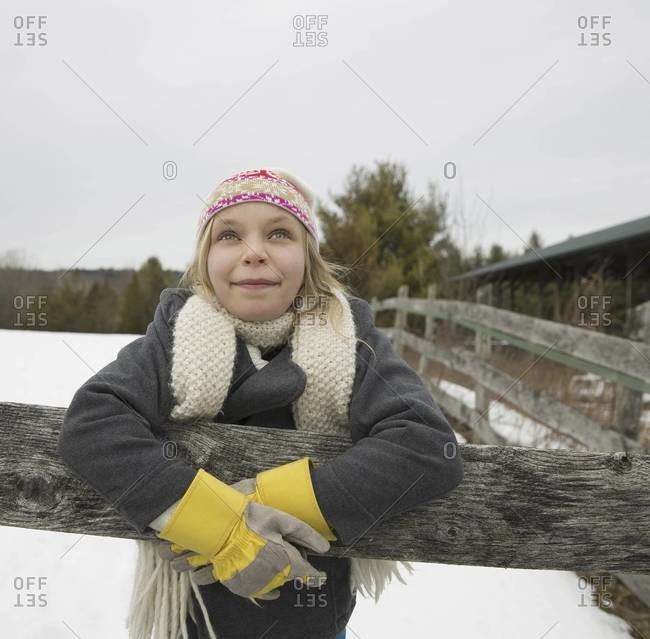Girl at maple syrup farm