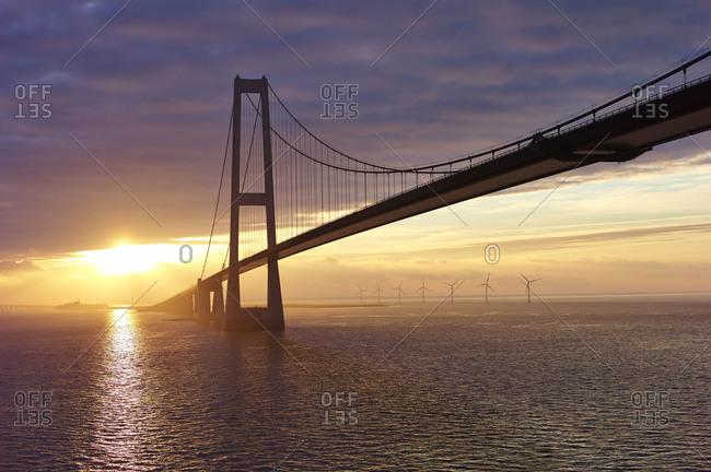 The Great Belt Bridge at sunset, Denmark