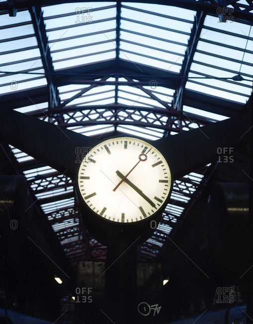Close up of a clock at a railway station