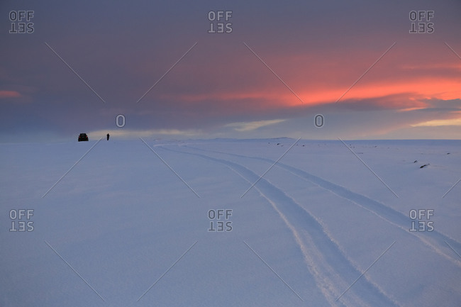 Jeep tracks on a winter morning in Iceland