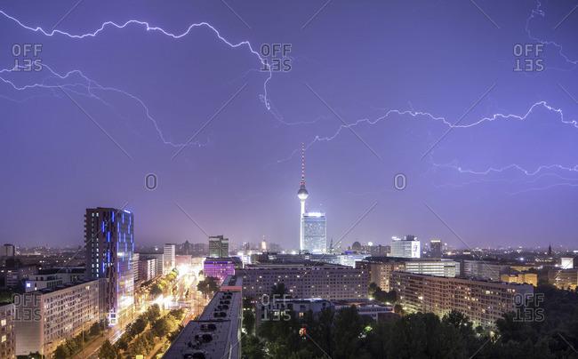 Thunderstrikes across Berlin skyline