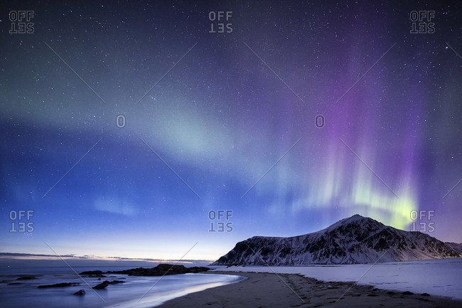 Northern Lights at Flakstad beach Norway lofoten