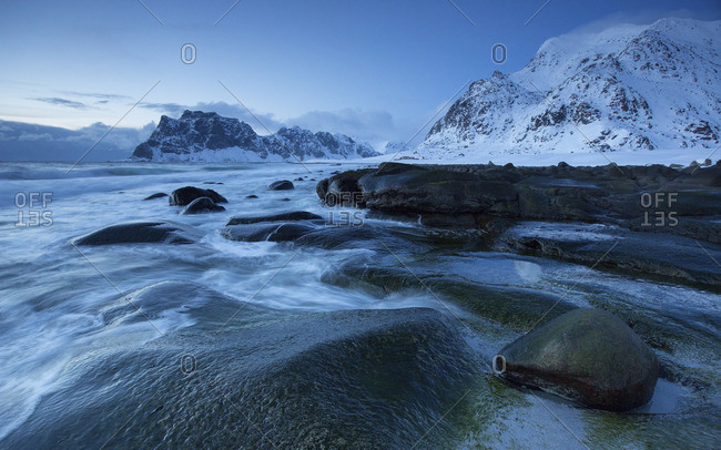 Arctic winterscape beach at uttakleiv Norway lofoten
