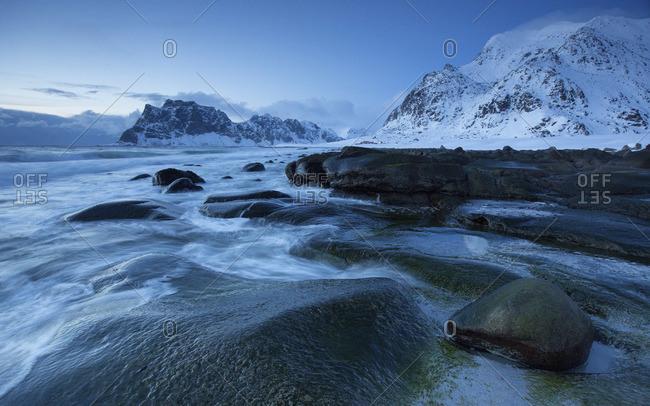 Arctic winterscape beach at uttakleiv Norway lofoten
