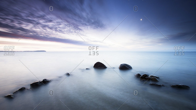Beach at Baltic Sea with mystic stones