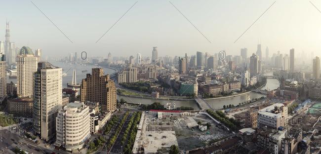 Skyline of Shanghai with smog
