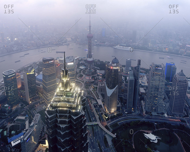 Pudong skyline from above