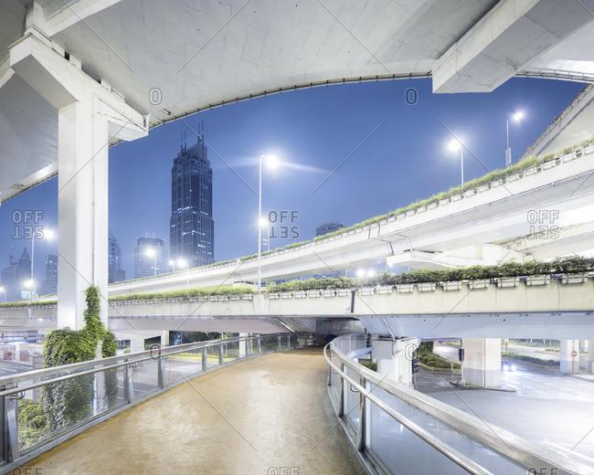 Shanghai walkway with bridges at night