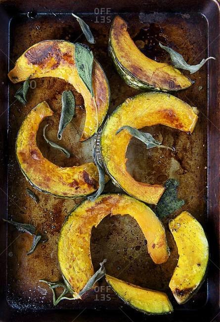 Over head view of roasted kabocha squash