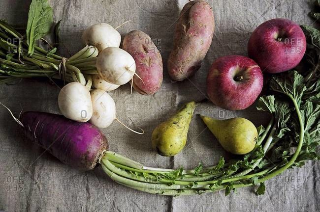 Over head view of root vegetables