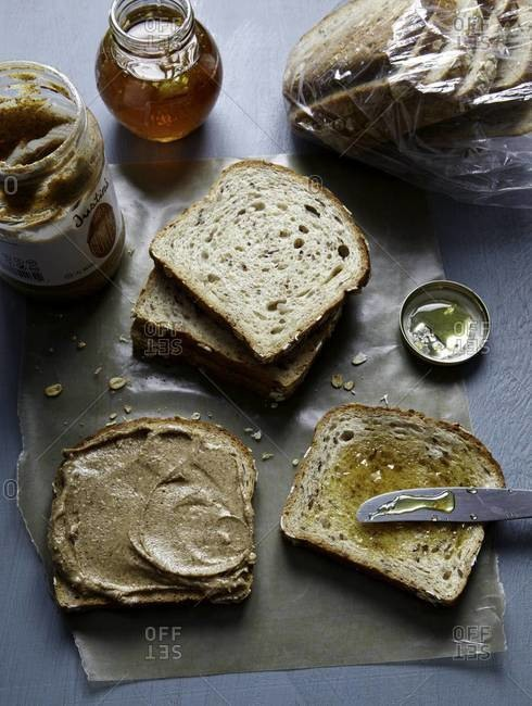 Almond butter and honey sandwich